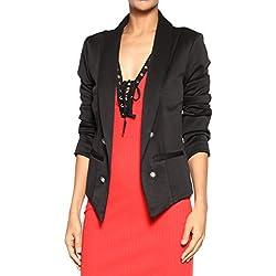 TheMogan Women's Double Breasted Tuxedo Suiting Blazer Jacket Black S