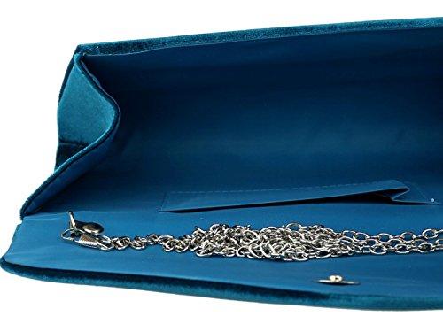 Blue Plain Plain HandBags Velvet Velvet Bag Teal Clutch Girly HandBags Girly U6WnxXvgq