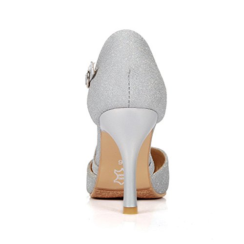 Solid Buckle Womens Toe Closed Pumps Spikes Shoes AmoonyFashion Pu Stilettos Silver Pointed wgAxdgq58