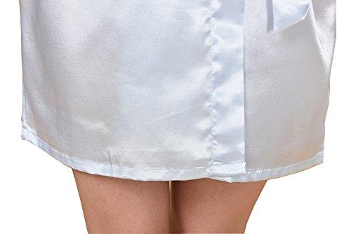 Surenow Pijama Albornoces Vestido de Baño Kimono para Mujer azul claro
