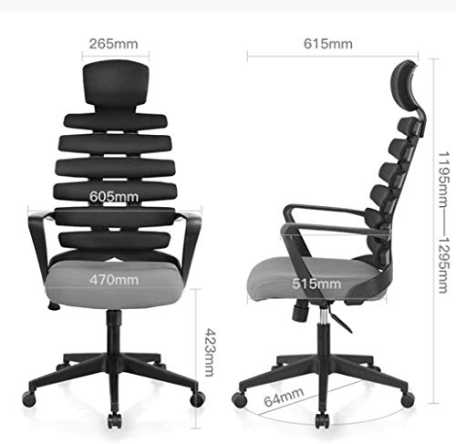 Kontorsstol, hög rygg dator skrivbord svängbar stol ergonomisk fiskben verkställande uppgift stol med nackstöd och armstöd fåtölj