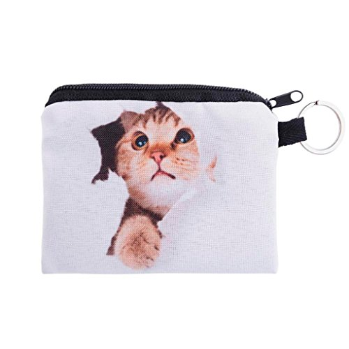 (Coin Wallet,Neartime Coins Change Purse Zipper Wallet Small Key Bags Dog Cat Print (White))