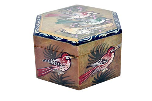 Beautifully Bird Painted Hexagonal Shape Marble jewellary Box/Marble Gift Item/Marble Showpiece/Gift for Girlfriend/Anniversary - Stone Marble Living Cookware