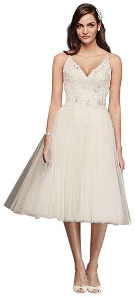 Davids Bridal Melissa Sweet Short Tulle V Neck Wedding Dress Style MS251160 Ivory
