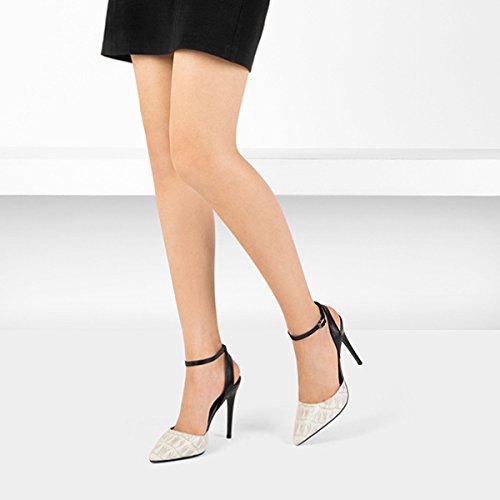 Femmes Du Bout De Chaussures Talons Chaussures En De Peau Ladyies Mariage Sandales Soir white Classique Hauts Pointu D'été à Des Mouton Beaux qUwAnXOExv