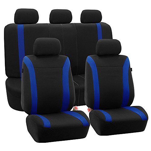 (FH Group FH-FB054115 Blue Cosmopolitan Flat Cloth Seat Covers, Airbag Compatible and Split Bench, Blue/Black Color-Fit Most Car, Truck, SUV, or)