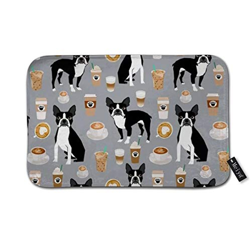 Boston Standard Sham - Boston Terrier Coffee Dog Breed Gifts pupuccino Dog Lover Boston Terriers Pure Breed Shams Doormat Floor Mat with Non-Slip Backing Bath Mat Rug Home Decor 23.6×15.7inch
