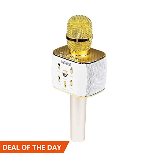 VERKB Wireless Karaoke Microphone, 5W×2 Speakers, 3 in 1 Portable Karaoke Machine for iPhone Android Smartphone Or PC, Party KTV or Gifts(Gold)
