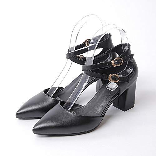Noir ZHZNVX Chaussures Femme Nappa Cuir Printemps & Eté Confort Talons Talon Chunky Noir Beige Rose 38.5 EU