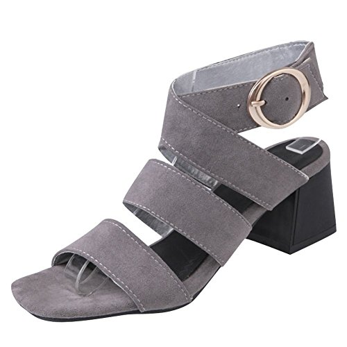 Mee Shoes Women's Charm Mid Heel Ankle Strap Buckle Block Heel Square Toe Sandals Grey FrE372SSLL