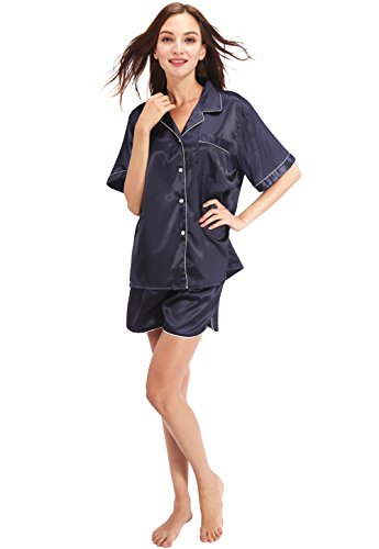 Long Short Set (Vislivin His or Her's Button Down Short Pant and Short Sleeve/Long Pant and Long Sleeve Satin Pajama Sets Blue XL)