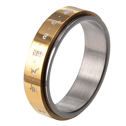 HIJONES Men's Stainless Steel Buddhist Mantra Gold Plated Lucky Spinner Ring Band 6mm Size - Flats Big Buddha