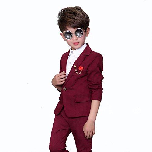 Gele Boy Formal Dress Blazer Pants 2 Pieces Suit (6, Red) (Boys Red Blazer)