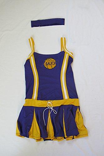 LA Laker Girl Womens Halloween Costume Los Angeles Lakers Cheerleader Adult NBA ()