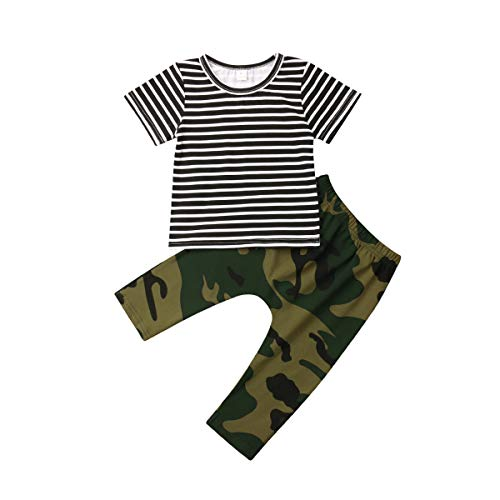 Newborn Infant Baby Boy Girls Camouflage Clothes Hooded T-Shirt Tops+Pants Outfits (6-12 Months, Camo-2) ()