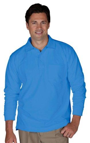 Edwards Unisex Long Sleeve Pique Polo/Pocket Shirt -  3X-Large - Marina Blue (Mens 3x Long Sleeve Polo Shirts)