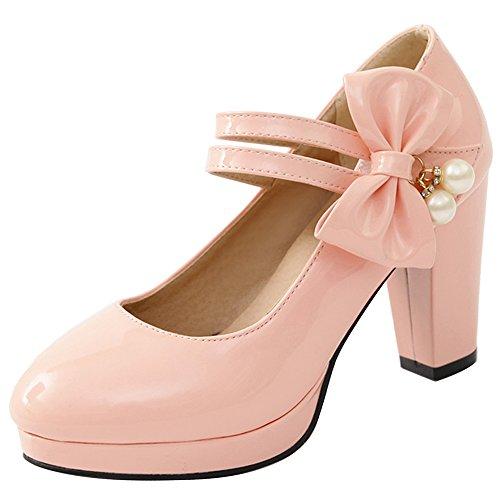 Ancho Zapatos Mujer Tacon Rosado Elegante VulusValas qYSwgC