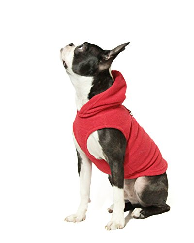 Gooby - Fleece Vest Hoodie, Small Dog Pull Over Hooded Fleece Jacket with Leash Ring, Red, Medium