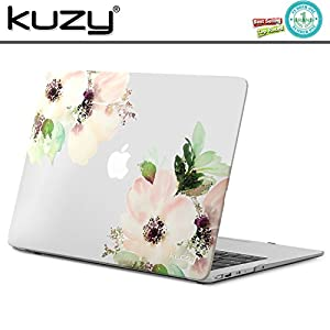 "Kuzy Rubberized Plastic Case for MacBook Air 13"" (A1466/A1369) Matte Hard Cover 13.3 inch Frosted-Clear - Flowers"