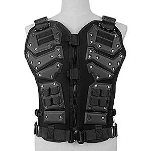 WOLFBUSH Tactical Vest Adjustable Airsoft Vest Protective Gilet Outdoor Activities CS Field Combat Waistcoat Adults, 45×25×53cm
