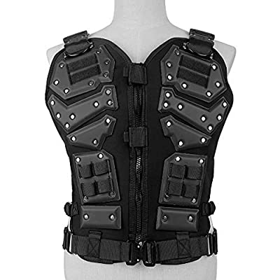 WOLFBUSH Tactical Vest Adjustable Airsoft Vest Protective Gilet Outdoor Activities CS Field Combat Waistcoat Adults, 45×25×53cm