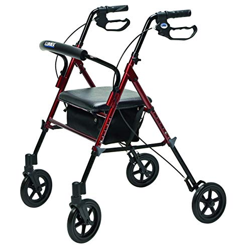 (Lumex Set n' Go Wide 2-in-1 Height-Adjustable Rollator, Burgundy, RJ4718R)