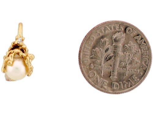 9ct Or Jaune Pendentif Récif Coralien Enroulé Autour D'une Perle Plus Diamant