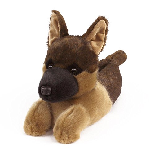 German Shepherd Slippers - Plush Dog Animal Slippers Black and Tan ()