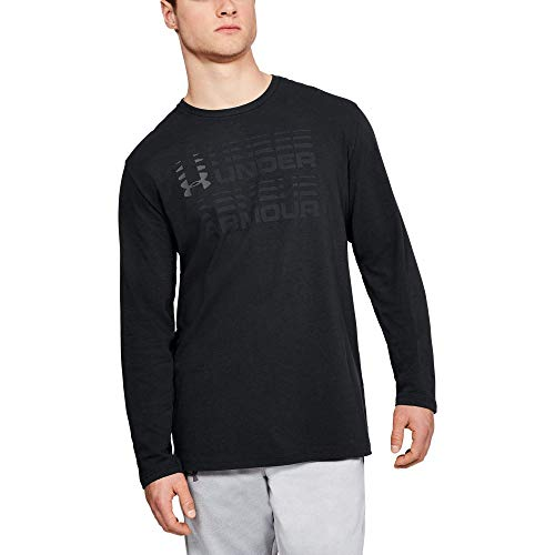 Under Armour Men's Wordmark Glitch Long sleeve, Black (001)/Graphite, Large