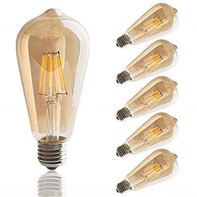 ST64 LED Edison Bulbs, 4W Vintage LED Filament Light Bulb,Dimmable LED Light Bulb, Amber Glass Cover,2700K, Antique Style, e26 Medium Screw Base,6 Pack