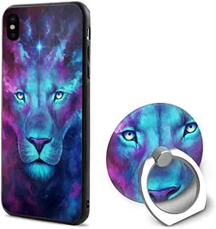 a9f3535e53 iPhone X Case Colourful Lion Customized iPhone Xs Mobile Phone Shell Ring  Bracket for 5.8 Inch