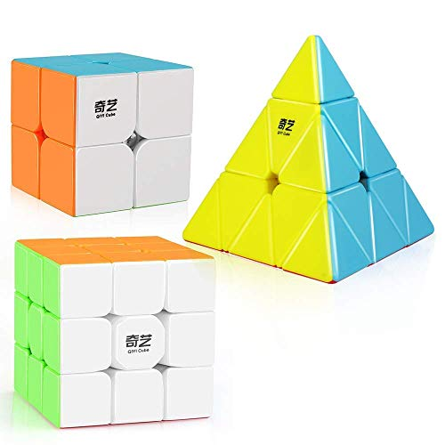 - D-FantiX Qiyi Stickerless Speed Cube Set, Qidi S 2x2 Warrior W 3x3 Qiming Pyramid Magic Cube Puzzle Toys