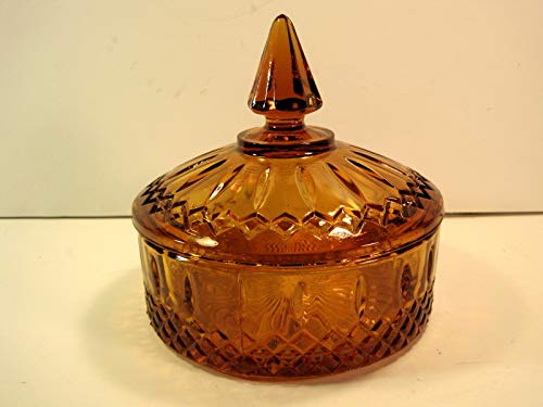 (Candy Dish, Vintage Amber Glass Covered, 6 Inches)