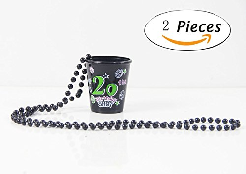 LOVELY BITON® 20th Happy Birthday Shot Glass Plastic Black Cup Lettering with a Fun Confetti Background Set of 2 (Glass Fan Set Shot)