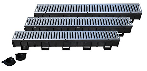 Regular Trench Drain Black Polymer & Pressed Galvanized Steel Grate - 3 x 3.3 Ft (10ft) Pack with 1 End Cap & Adaptor