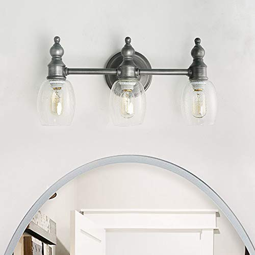 Log Barn Bathroom Vanity Lights, Farmhouse Wall Sconces in Brushed Silver Finish with Clear Bubbled Glass(3Heads ), 3-Light Mounted Lights, A03351