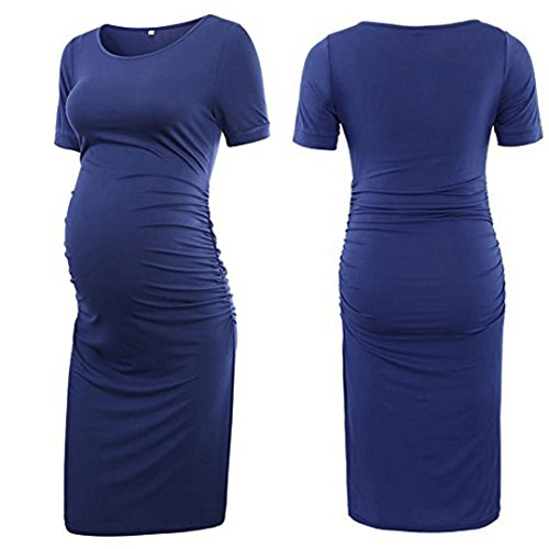 - Snowfoller Summer Dress for Pregnant Women, Maternity Long Dress Casual O-Neck Short Sleeve Solid Color Bodycon Mama Dress (L, Navy)