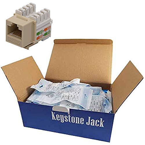 (CNAweb Cat5e RJ45 Modular Keystone Jack, 110 Style, Ivory - Box of 50)
