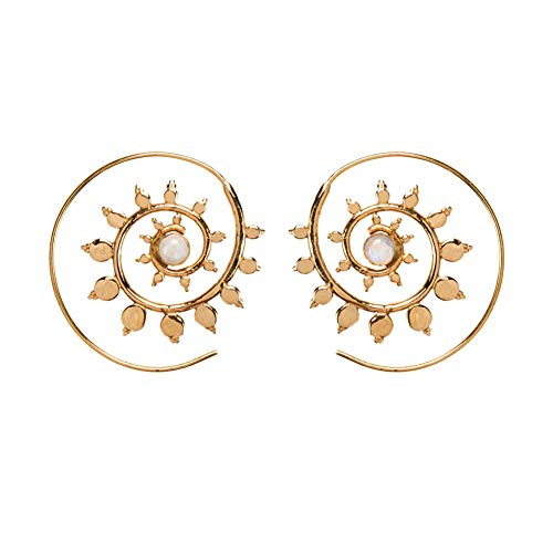 81stgeneration Women's Gold Tone Brass 40 mm Ethnic Simulated Spiral Threader Earrings