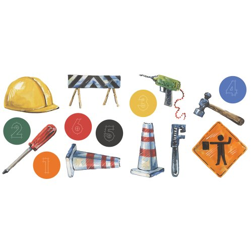 Blue Mountain Wallcoverings GAPP1782 Just for Kids Construction Self-Stick Appliqué