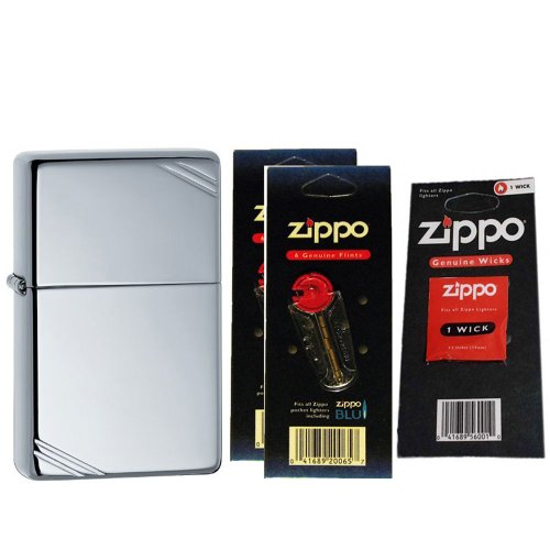 Zippo 260 Vintage High Polish Chrome Slashes Windproof Lighter with Two Flint Card and One Wick Card