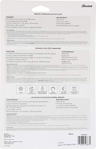 AMERTAC-WESTEK LW2205W-N2 LED Puck Lights with Remote, 2-Pack, White - - Amazon.com