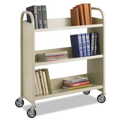 SAFCO PRODUCTS Steel Slant Shelf Book Cart, Three Shelves, 36w x 14-1/2d x 43-1/2h, Sand, Sold as 1 Each by Safco Products