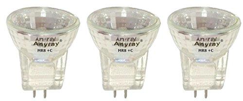 Anyray A2014Y (3-bulbs) 6-Watts MR8 +C 6V 10W Halogen Light Bulb (Gz4 Base Eiko Light Bulb)