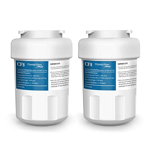 GE MWF Water Filter Replacement for GE MWF, Smartwater, MWFA, FMG-1, Kenmore 9991, 46-9991 Refrigerator Water Filter by Crystala Filters - 2 Pack