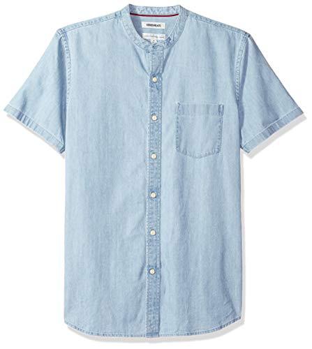 Mens Short Sleeve Denim - Goodthreads Men's Standard-Fit Short-Sleeve Band-Collar Denim Shirt, -light blue, Large