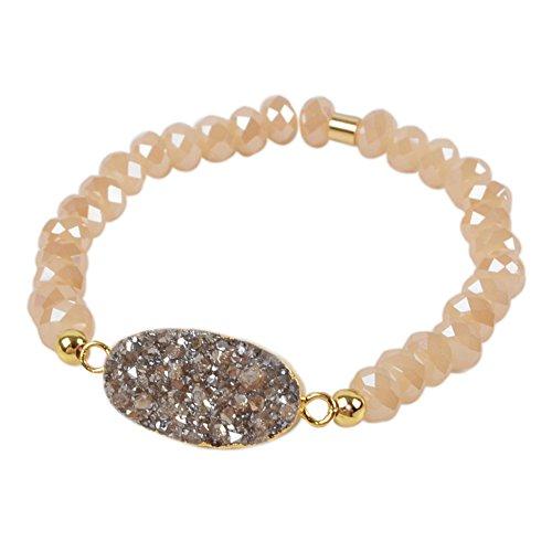 Champagne Quartz Bracelet - ZENGORI 1 Pcs Gold Plated Oval Natural Agate Titanium Rainbow Druzy Champagne Faceted Beads Bracelet