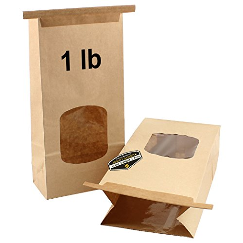 """100 Pack of Mighty Gadget (R) Resealable Kraft Paper Poly-Lined Tin Tie Bags w Window (1 lb) - 4 3/4"""" x 2 1/2"""" x 9 1/2"""""""
