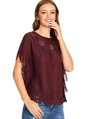1/2 Top Sleeve (Milumia Women's Flower Hollow Out Top Casual Summer Blouse Large Burgundy)
