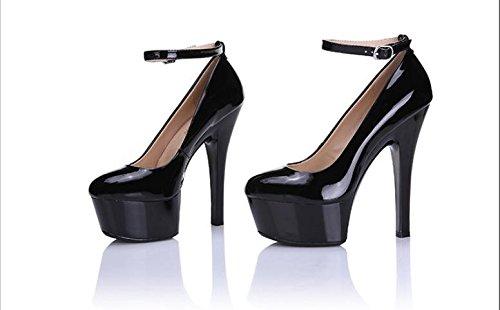 AJUNR Moda/elegante/Transpirable/Sandalias Sexy ligero resistente al agua solo zapatos black 15cm high heels 37 40